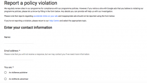 Report policy violation