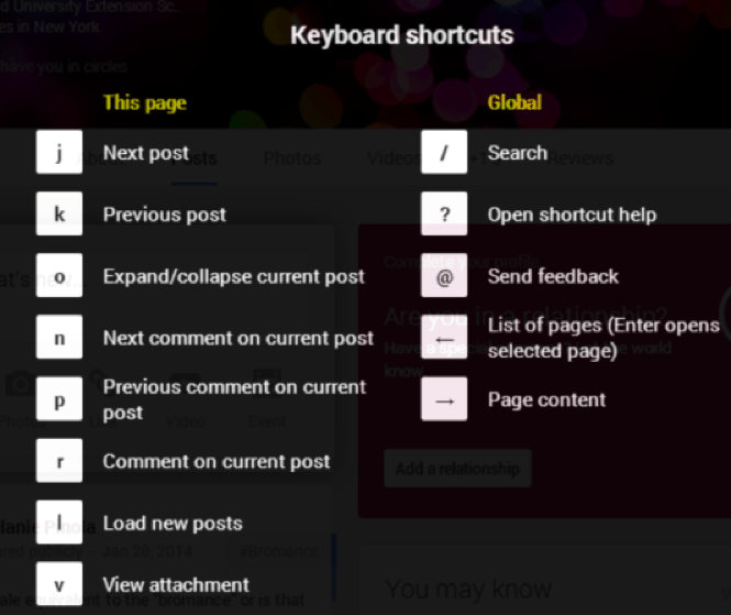 google+ keyboard shortcut